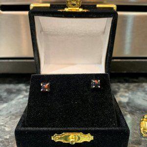 Rare black opal earrings in 14k white gold